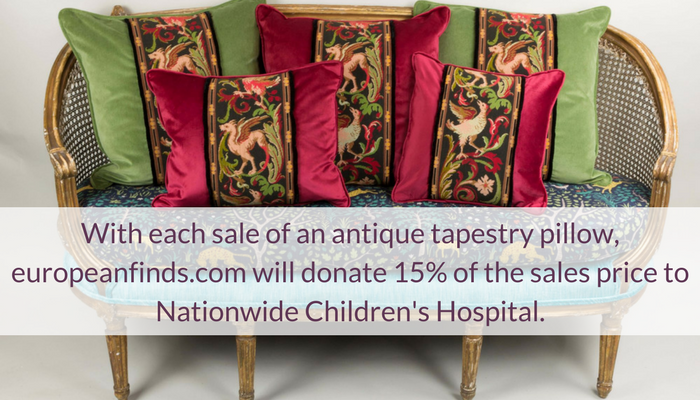With each sale of an antique tapestry pillow, europeanfinds.com will donate 15% of the sales price to Nationwide Children's Hospital.