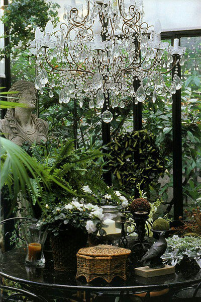 antique chandeliers in the garden