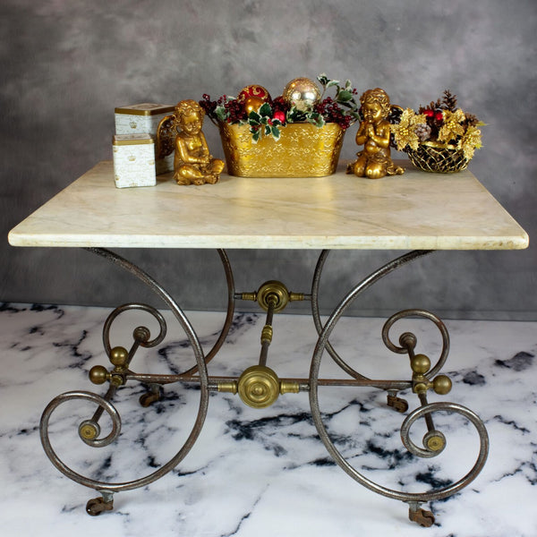 antique pastry tabled decorated for the holidays