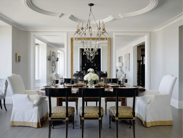 black and gold contemporary dining room