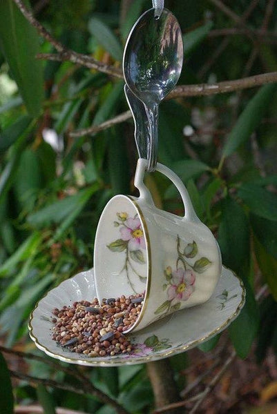 teacup repurposed as a bird feeder