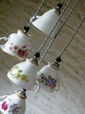 teacups repurposed as light fixtures