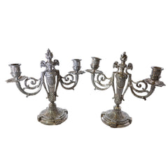 Antique Victor Saglier Art Nouveau Silver Plate Candelabras European Finds Main