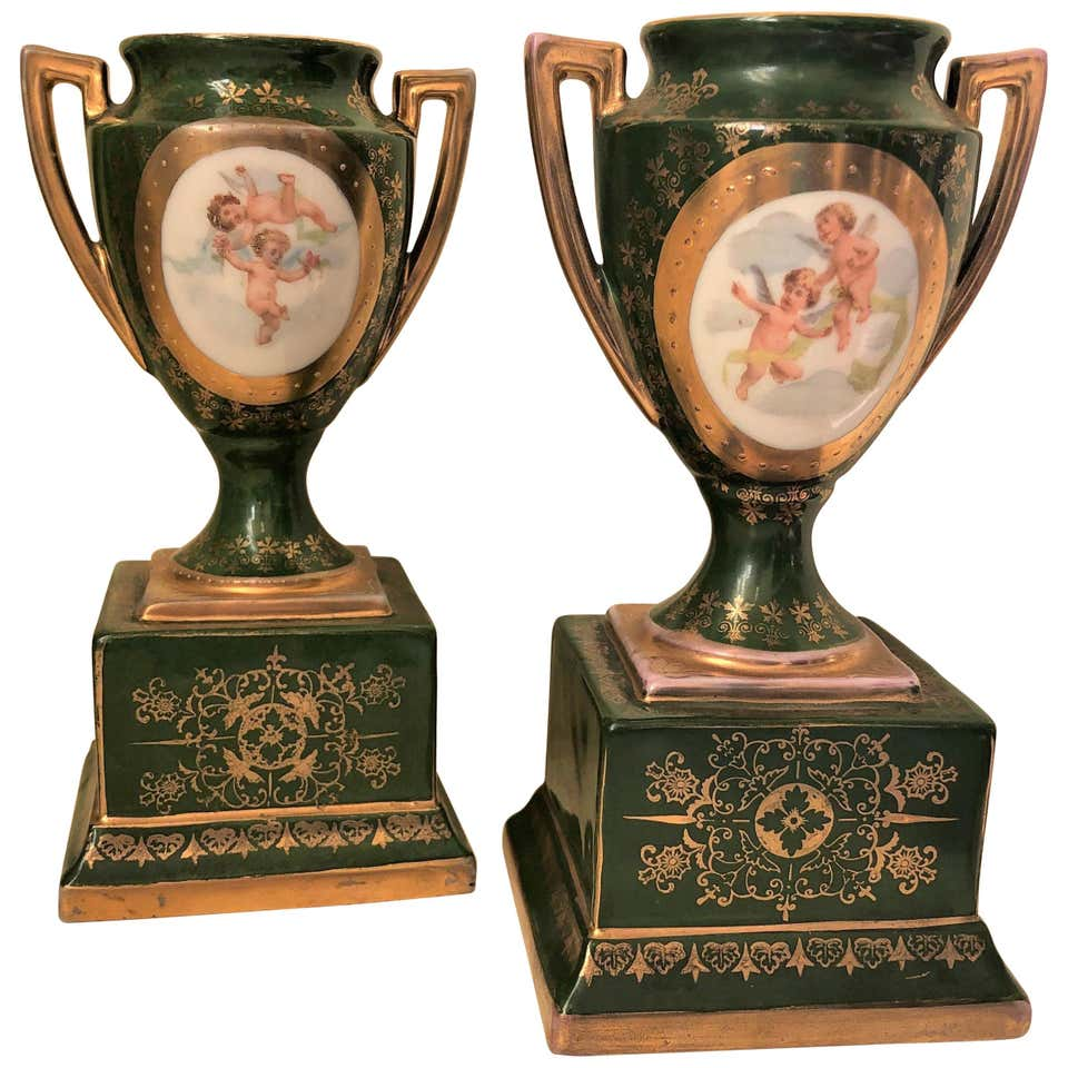 Late 19th Century Victoria Austria Green Hand Painted Urns, Pair