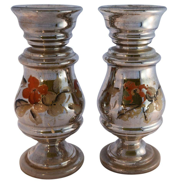 Hand Painted Mercury Glass Candlesticks
