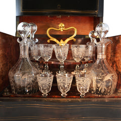 French Napoleon III Ebony and Rosewood Cave à Liqueur Tantalus Bohemian Glass