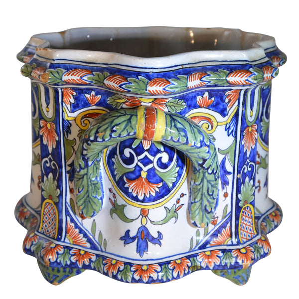 French Hand Painted Nevers Faience Cachepot Jardinière, circa 18th Century