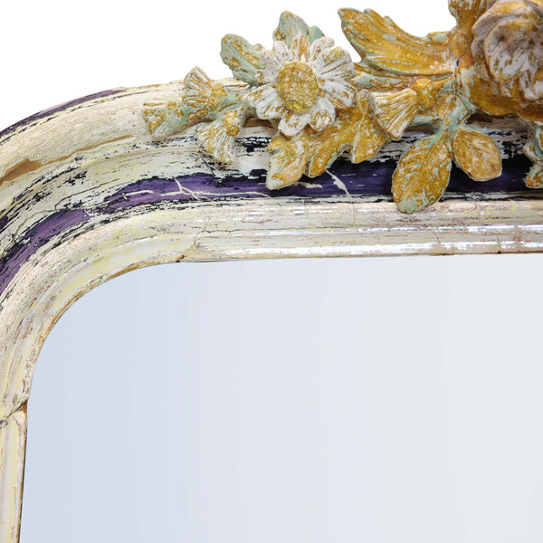 Antique 19th Century Wall Mirror with Decorative Bird Detail