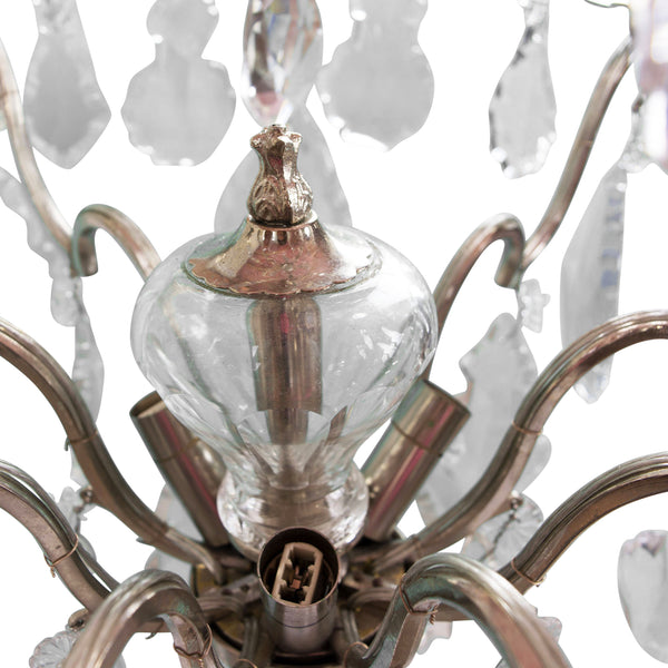 Antique 19th Century Large Baccarat Crystal Chandelier Metal Work