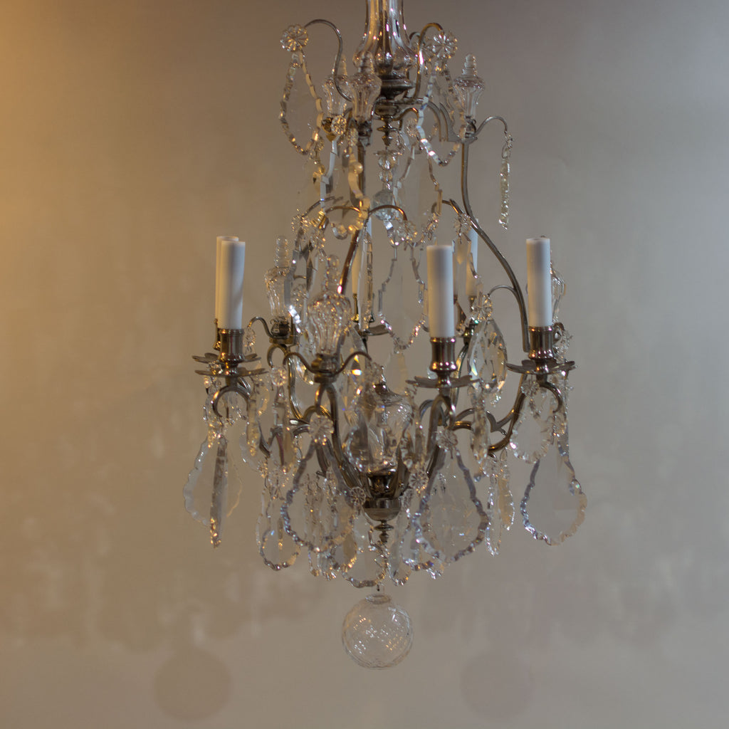... Antique 19th Century Large Baccarat Crystal Chandelier Beautiful Even  Unlit - Antique 19th Century Large Baccarat Crystal Chandelier