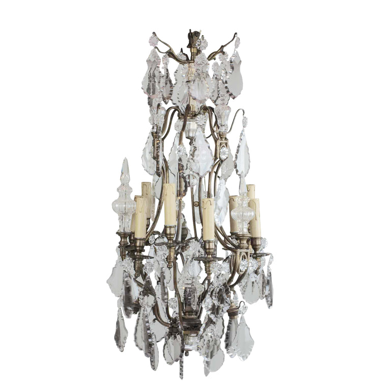 19th Century Antique Baccarat Chandelier 12 Light 35