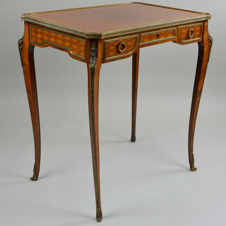 Antique Gilt Bronze Parquetry Inlaid Occasional Table Louis XVI Style