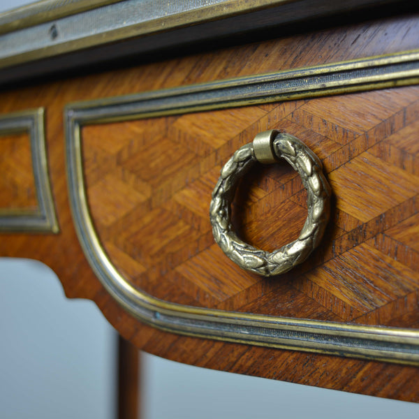 Antique Parquetry Occasional Table Drawer Pull and Front Detail