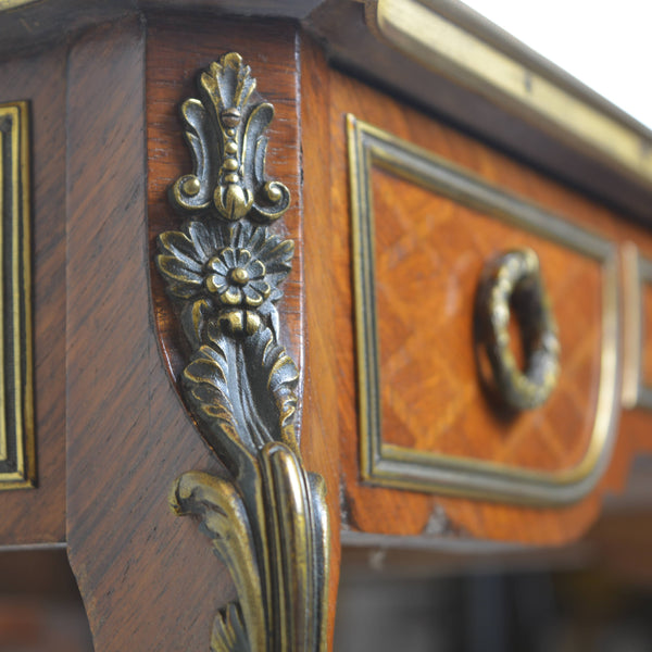 Antique Parquetry Occasional Table Bronze Corner Detail
