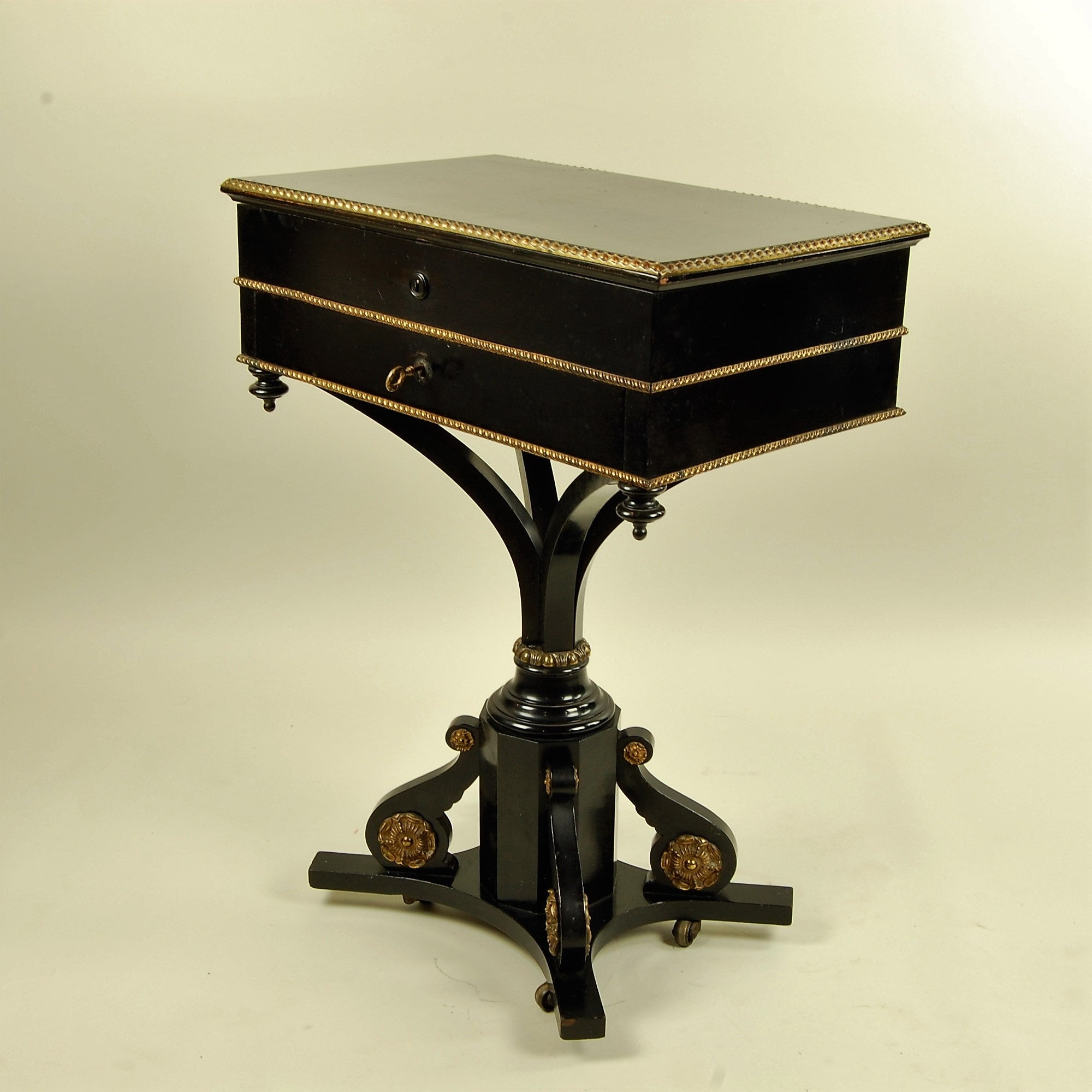 19th Century Side Table with Two Drawers Gilt Details