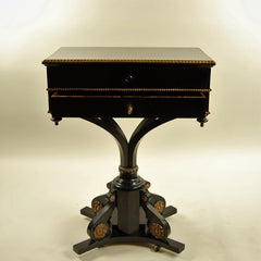 19th Century Side Table with Two Drawers Gilt Details Front