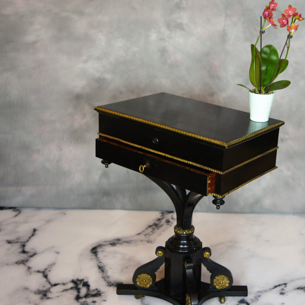 19th Century Side Table with Two Drawers Gilt Details Alt Image