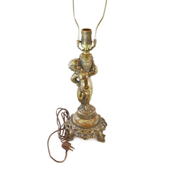 Boudoir Lamp Gold Cherub with Rosette and Fringe Shade European Finds Base
