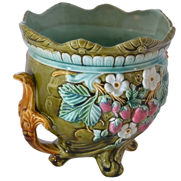 Antique Onnaing Majolica Jardiniere with Strawberry Accents