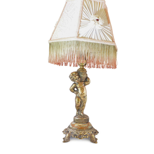 Boudoir Lamp Gold Cherub with Rosette and Fringe Shade European Finds