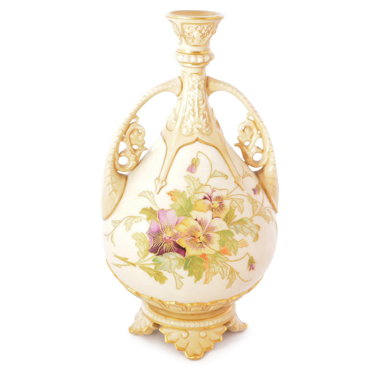 1888 Royal Worcester Porcelain Stem Vase