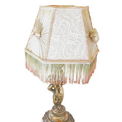 Boudoir Lamp Gold Cherub with Rosette and Fringe Shade European Finds Shade Detail