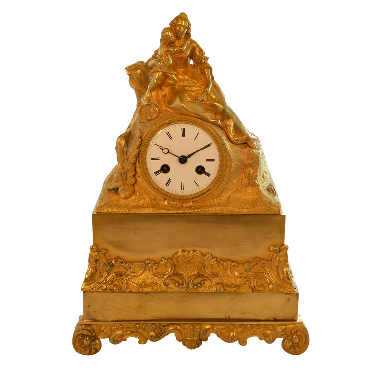 Antique 19th Century Gilded Mantle Desk Clock with Mother and Child