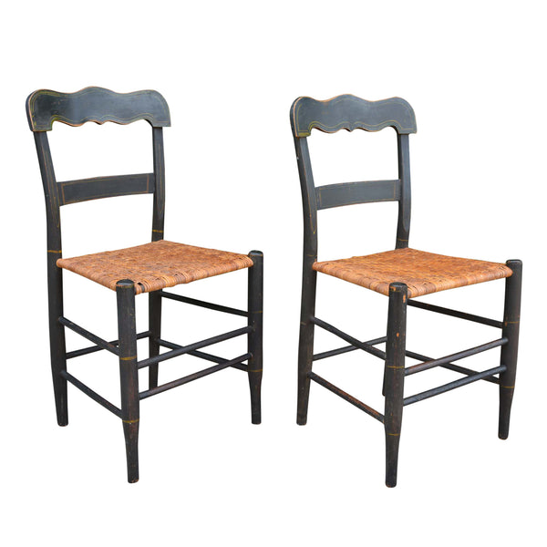 Antique American Country Sheraton Cane Seat Chairs Pair