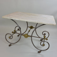 French 19th Century Pastry Table with Cream Marble Top