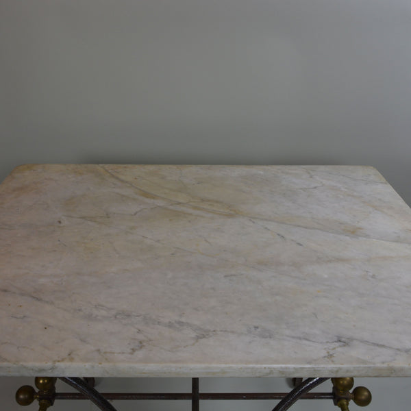 French 19th Century Pastry Table with Cream Marble Top Close up of Marble Top