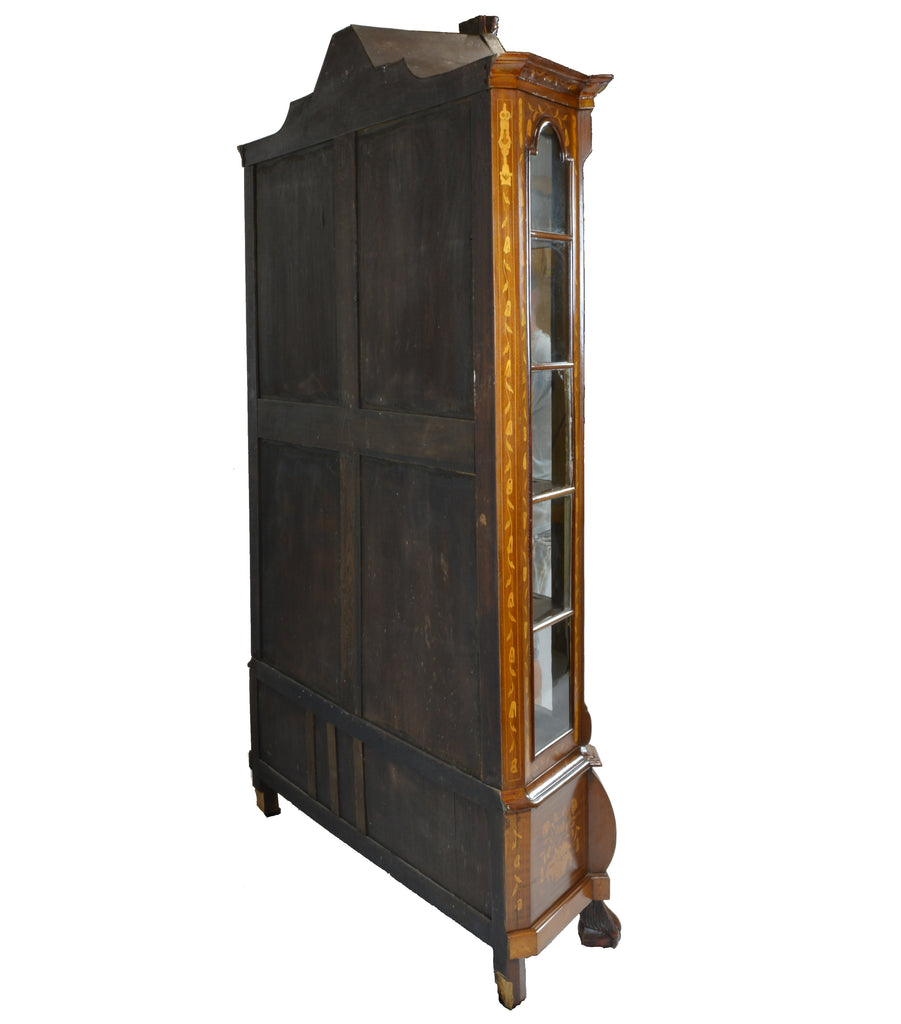 ... Antique Display Cabinet with Dutch Marquetry Back ... - Antique Display Cabinet With Dutch Marquetry