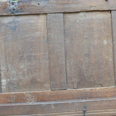 Antique Early 18th Century English Carved Oak Three-Panel Chest