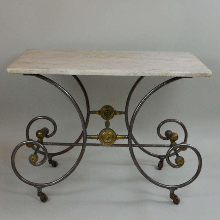 Early 19th Century Bakery Table with White Marble Top