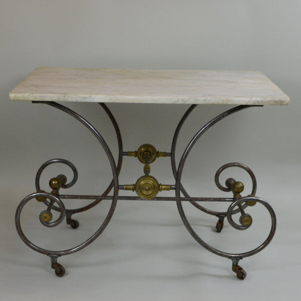 French 19th Century Pastry Table with Cream Marble Top Front View