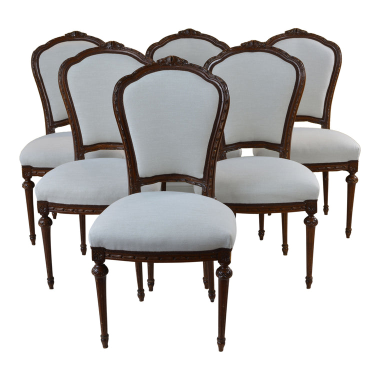 Set of Six Antique French Style Dining Chairs