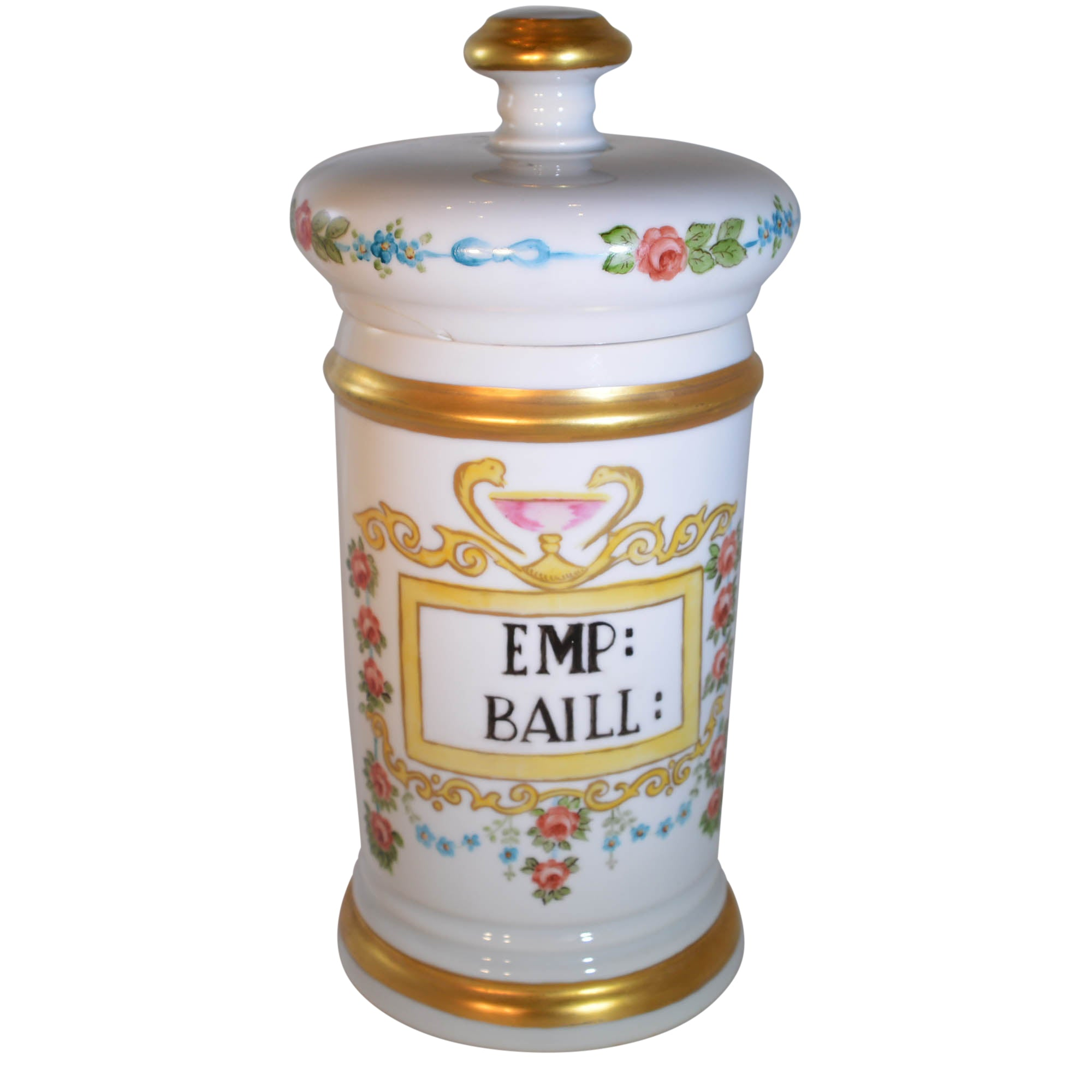 Antique French Pharmacy Apothecary Jar Hand Painted Signed