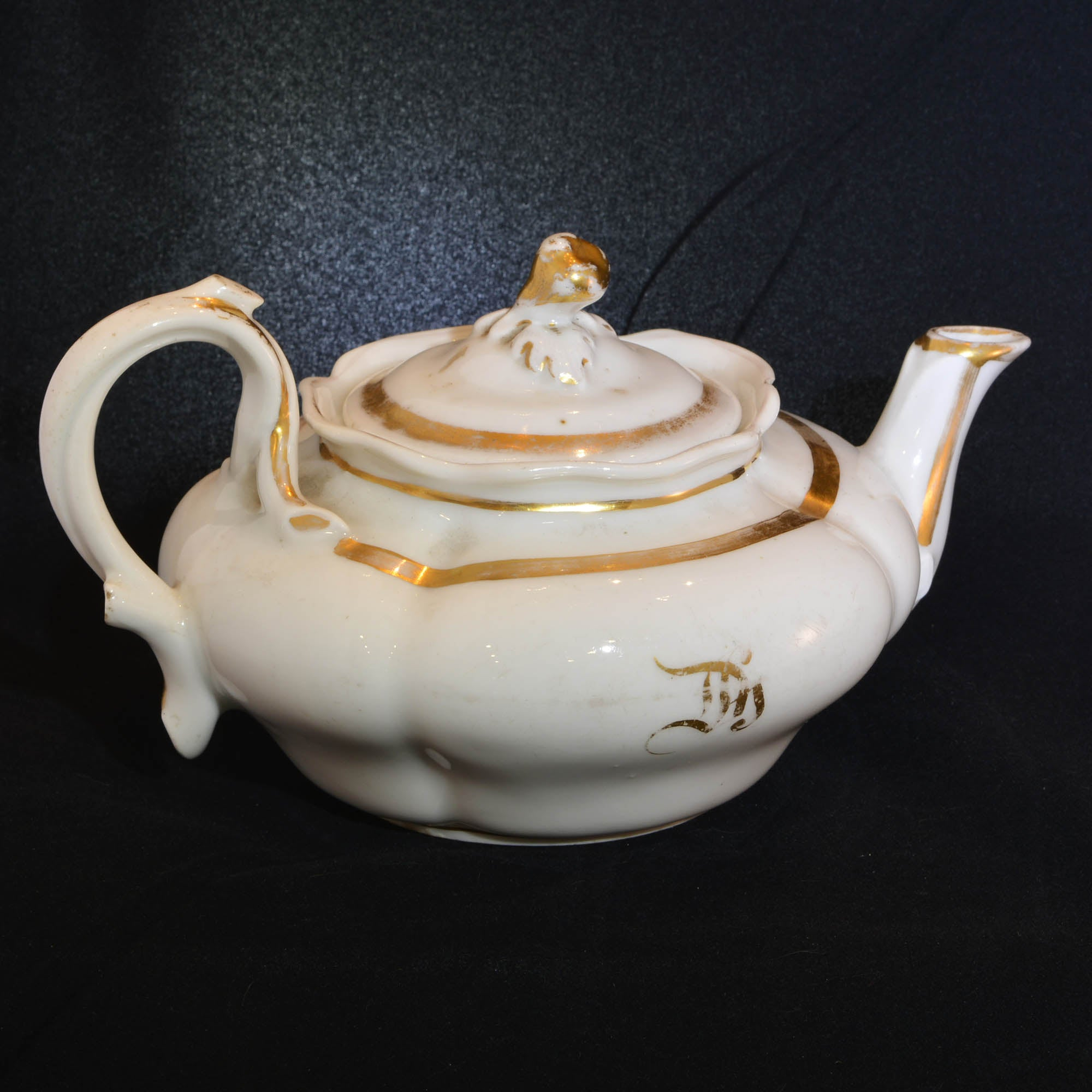 Antique French White Porcelain Teapot with Gold Accent