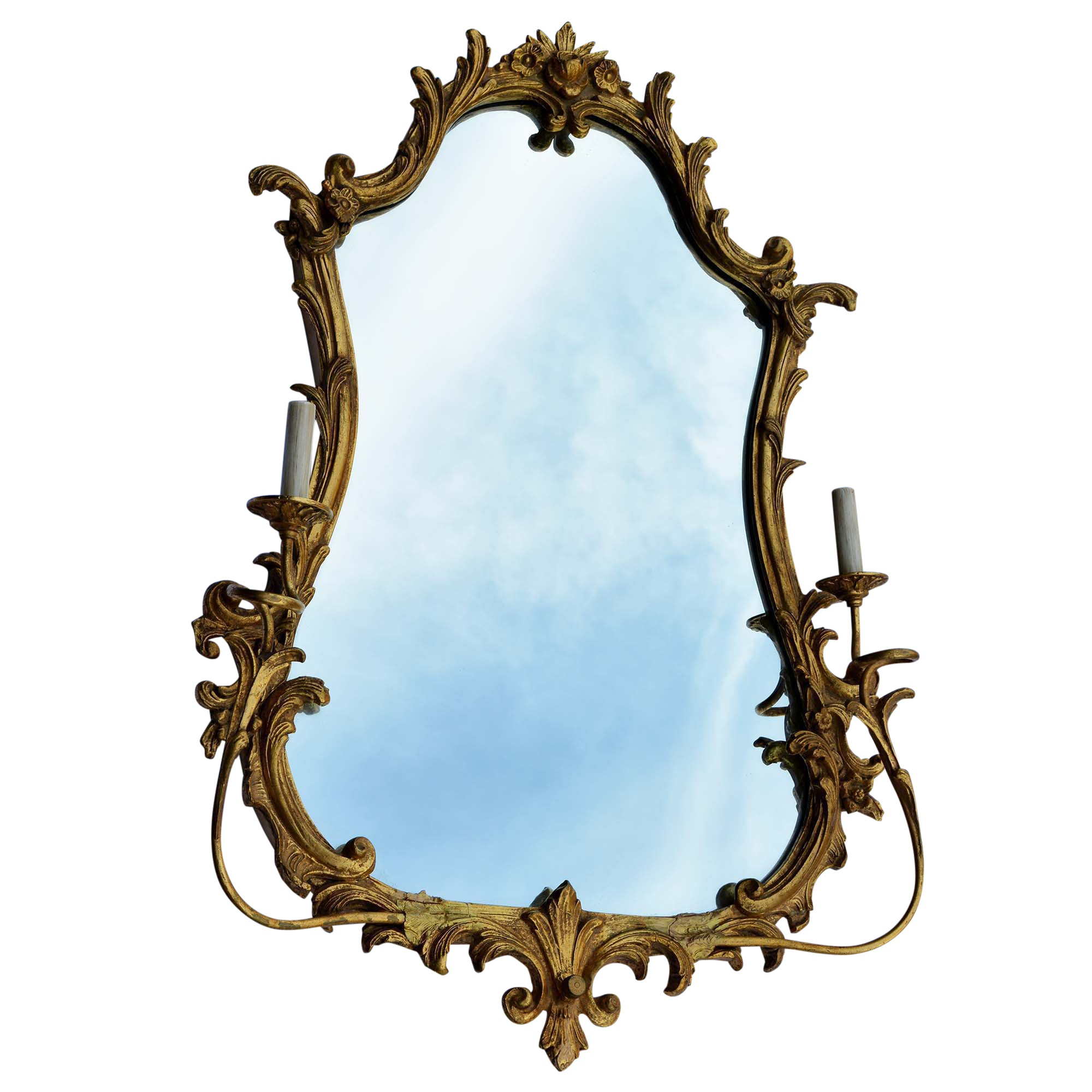 Antique Friedman Brothers Gilt Sconced Mirror