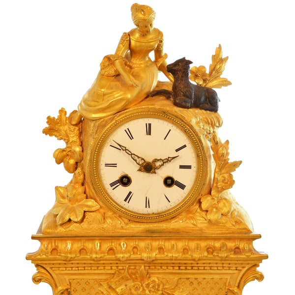 Antique 19th Century Gilded Mantle Desk Clock with Girl and Goat