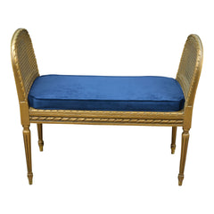 Antique Giltwood Caned Seat Raised Sides Bench Blue Velvet Cushion