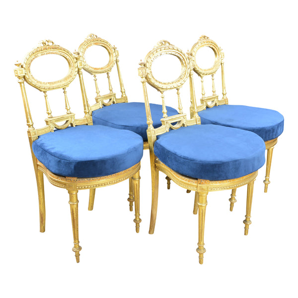 Antique Giltwood Chairs with Blue Velvet Cushions Set of 4