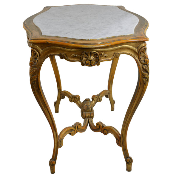 Antique Giltwood Center Table with Marble Turtle Shaped Top