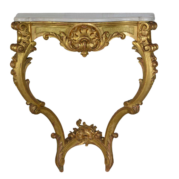 French Louis XV Style Carved Giltwood Marble Top Wall Console Table