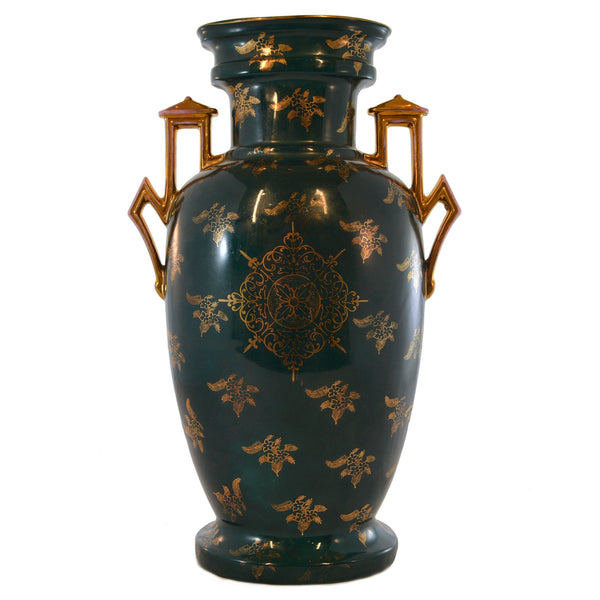 Hand-painted Center Design Dark Green Gold Accents Vase European Finds Back