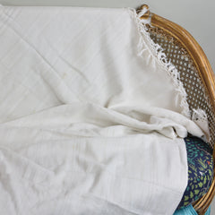 Handwoven Antique Coverlet of Linen and Cotton European Finds Throw or Bedspread
