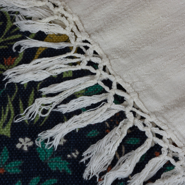 Handwoven Antique Coverlet of Linen and Cotton European Finds Bedspread or Tablecloth