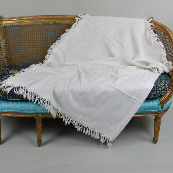 Handwoven Antique Coverlet of Linen and Cotton European Finds