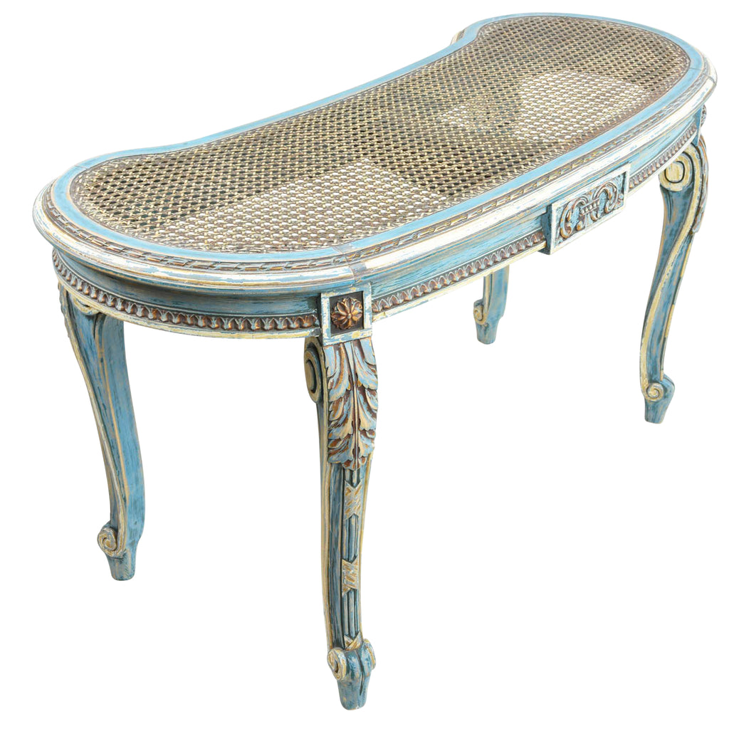 Pleasing French Louis Xvi Style Kidney Shape Vanity Or Window Bench French Blue Accents Caraccident5 Cool Chair Designs And Ideas Caraccident5Info