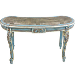French Louis XVI Style Kidney Shape Vanity or Window Bench French Blue Accents