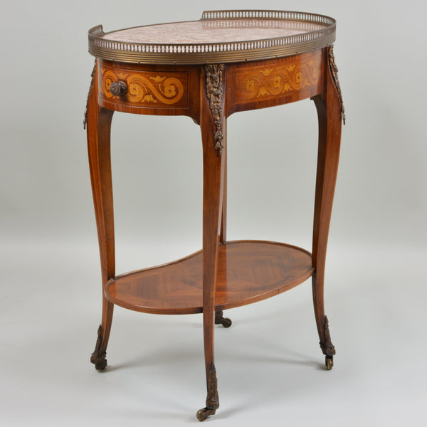 Early 19th Century Marble Top Oval Side Table Side View 1